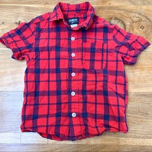 ❤️ Osh Kosh Boys Short Sleeve Button Up Shirt.